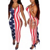 Lovely Independence Day Sexy Striped Hollow-out An