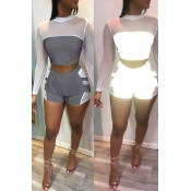 Lovely Casual O Neck Patchwork White Two-piece Shorts Set