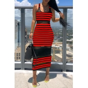 Lovely Chic Striped See-through Red Mid Calf Dress