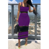 Lovely Chic Striped See-through Purple Mid Calf Dr