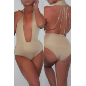 Lovely Deep V Neck Hollow-out Khaki One-piece Swimwear