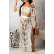Lovely Off The Shoulder Tassel Design White Cover-up(Top+Bottoms)