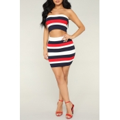 Lovely Casual Off The Shoulder Striped Printed Red