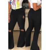 Encantadora Casual Agujeros Rotos Pantalones Vaqueros Negros