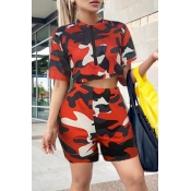 Lovely Casual Camouflage Printed Red Two-piece Sho