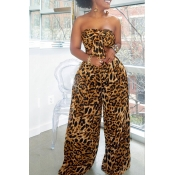 Lovely Stylish Off The Shoulder Leopard Printed Two-piece Pants Set