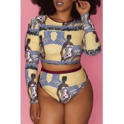 Lovely O Neck Printed Multicolor Tankinis