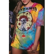 Lovely Casual O Neck Tie-dye Multicolor T-shirt