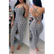 Lovely Sexy Printed Lace-up Hollow-out Black-white