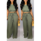 Lovely Sexy Lace-up Backless Army Green Two-piece Pants Set