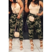 Lovely Casual High Waist Camouflage Printed Army G