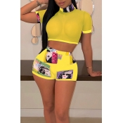 Lovely Sexy Printed See-through Yellow Two-piece Shorts Set