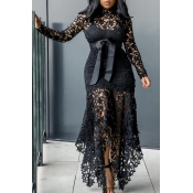 Lovely Sexy Lace Patchwork Asymmetrical Black Ankl