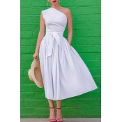 Lovely Work One Shoulder White Mid Calf A Line Dre
