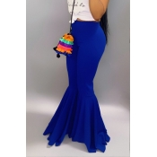 Lovely Stylish High Waist Blue Horn-type Pants