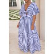 Lovely Sweet V Neck Striped Baby Blue Ankle Length