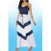Lovely Casual V Neck Striped Patchwork Blue Ankle
