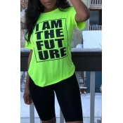 Lovely Casual O Neck Letter Printed Green T-shirt