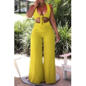 Lovely Sexy V Neck Side Split Yellow Two-piece Pan