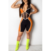 Lovely Casual Patchwork Orange One-piece Romper