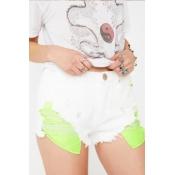 Lovely Chic Broken Holes White Denim Shorts