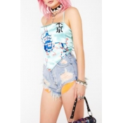 Lovely Chic Broken Holes Baby Blue Denim Shorts