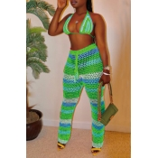 Lovely Halter Neck Hollow-out Green Two-piece Swimwear