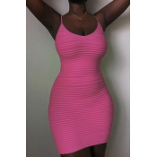 Lovely Casual Spaghetti Straps Striped Pink Mini D