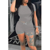 Lovely Casual O Neck Hollow-out Grey Two-piece Shorts Set