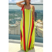 Lovely Casual Spaghetti Straps Striped Printed Yel