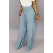 Lovely Casual High Waist Baby Blue Pants