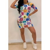 Lovely Casual O Neck Letter Printed Multicolor Min