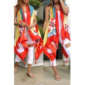 Lovely Stylish Printed Asymmetrical Red Loose Vest