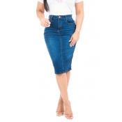 Lovely Casual High Waist Blue Denim Knee Length Sk