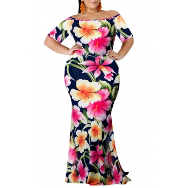 Lovely Bohemian Off The Shoulder Floral Printed Pink Floor Length Dress