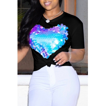 Lovely Leisure O Neck Heart-shaped Printed Black T-shirt