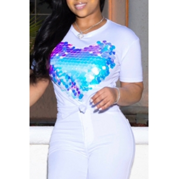Lovely Leisure O Neck Heart-shaped Printed White T-shirt