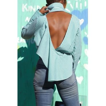 Lovely Casual Striped Backless Green Shirt