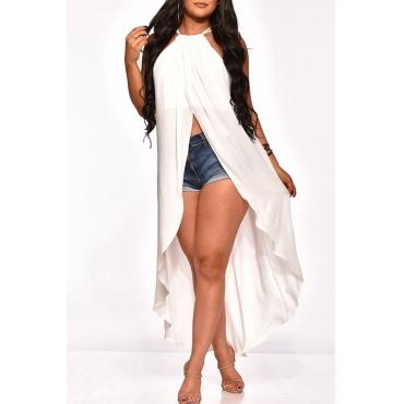 Lovely Stylish Asymmetrical White Blouse