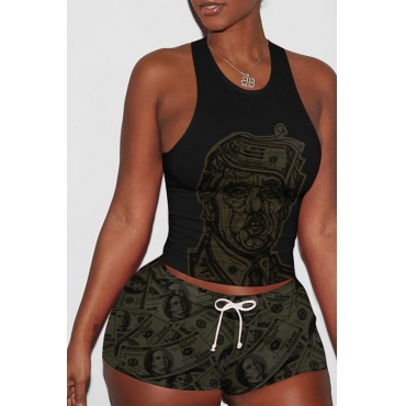 Lovely Casual Backless Printed Black Two-piece Shorts Set