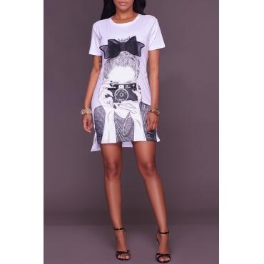 Lovely Leisure Short Sleeve Printed White Mini Dress