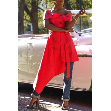 Lovely Stylish Off The Shoulder Asymmetrical Red Blouse