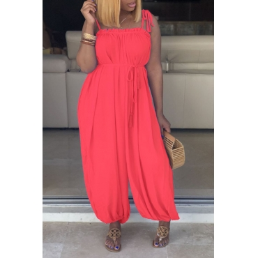 Lovely Work Spaghetti Straps Lace-up Pink Loose One-piece Jumpsuit