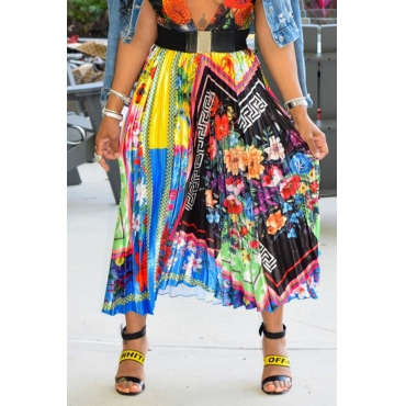 Lovely Trendy Ruffle Printed Ankle Length Skirt