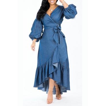Lovely Trendy Asymmetrical  Dark Blue Denim Mid Calf  Dress