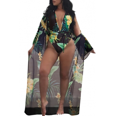 Lovely Chic Floral Printed Black Cover-up(Without Swimwear)
