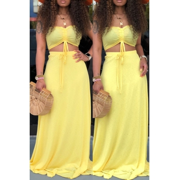 Lovely Casual Off The Shoulder Yellow Two-piece Skirt Set