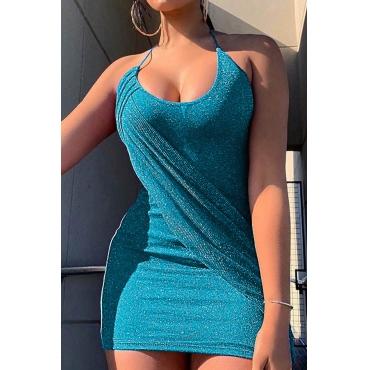 Lovely Sexy Halter Neck Baby Blue Mini Dress