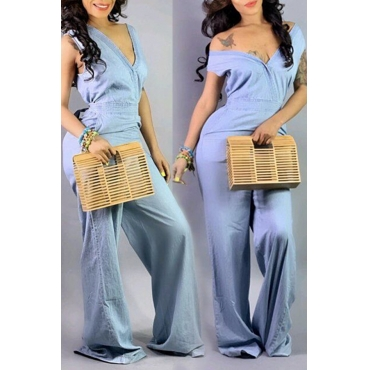 Lovely Casual Hollow-out Baby Blue Denim One-piece Jumpsuit