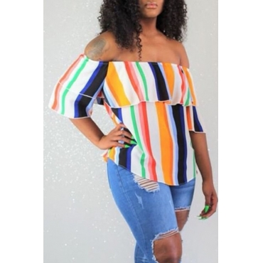 Lovely Stylish Off The Shoulder Striped Blouse
